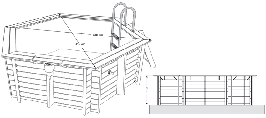 dimensioni Piscina in legno Lake 410