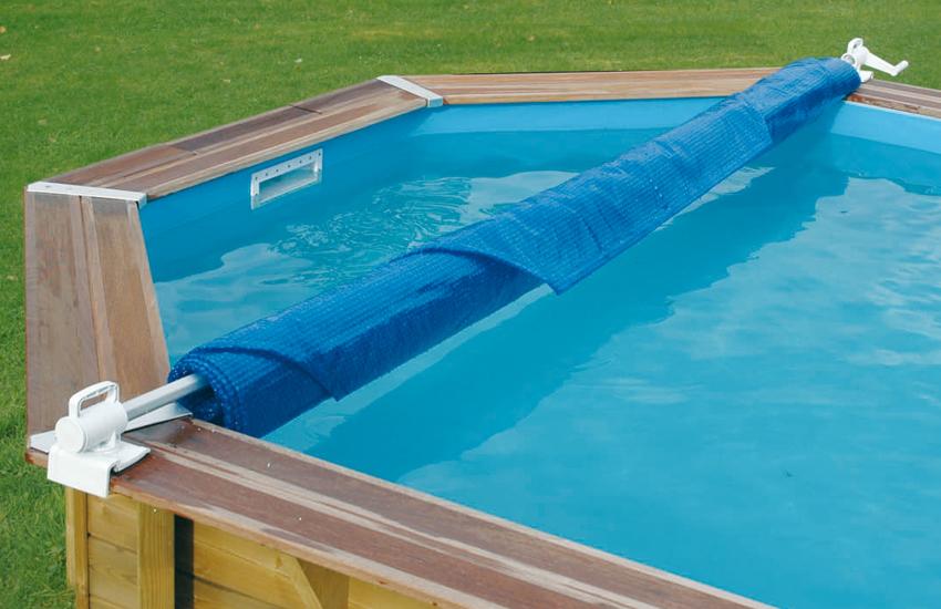 Rullo avvolgitore copertura per piscine fuori terra ubbink for Bordo piscina legno
