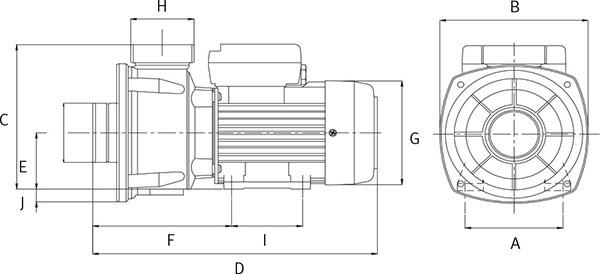 Schema Pompa per idromassaggio WIPER0 Espa - da 0.33 a 1 HP Raccordi 5.7 cm