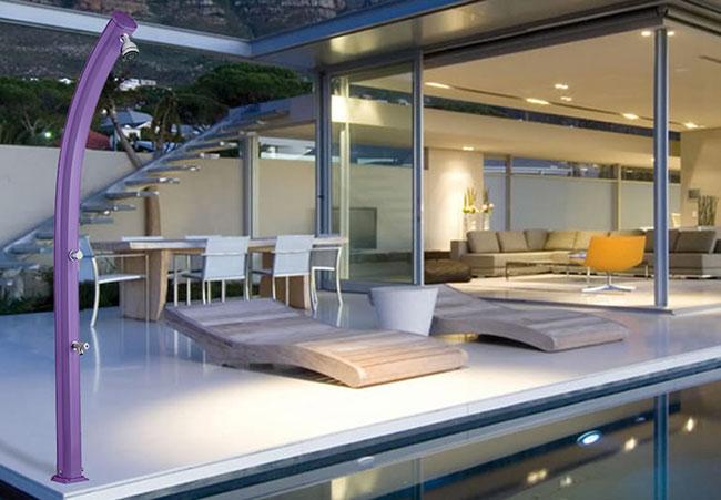 Doccia da esterno in alluminio JOLLY CURVA, miscelatore e lavapiedi