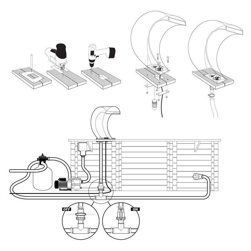 Cascata MAMBA mezzaluna per piscina disegno tecnico