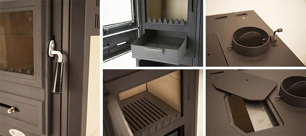 stufa a legno in acciaio con forno