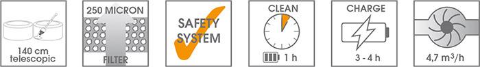Caratteristiche Aspiratore manuale per piscina POOL ACCU CLEANER a batteria