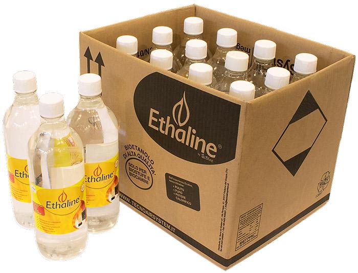 Bioetanolo liquido EHTALINE da 1 l - Confezione da 12 flaconi