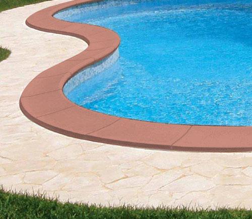 Bordo sagomato standard color cotto liscio per piscina for Bordi per piscine