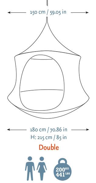 Tenda sospesa CACOON DOUBLE, Ø 1,8 mt con kit di fissaggio