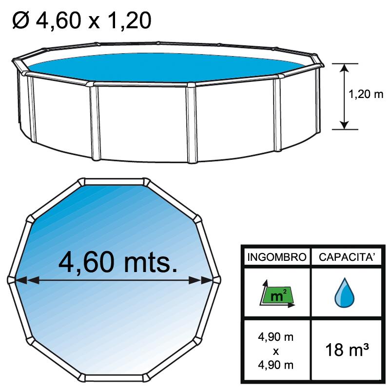 Piscina fuori terra rotonda mini 460 4 60 h 1 20 m for Liner piscine 3 60 1 20