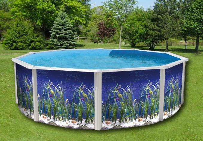 piscina fuoritera decorata in acciaio