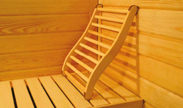 Schienale in legno per sauna