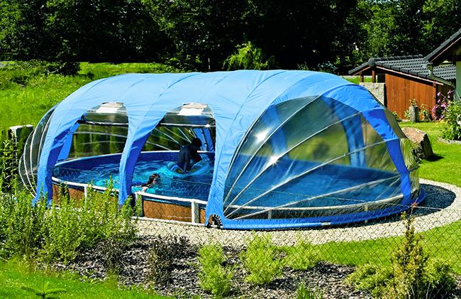 Copertura telescopica piscina rimovibile