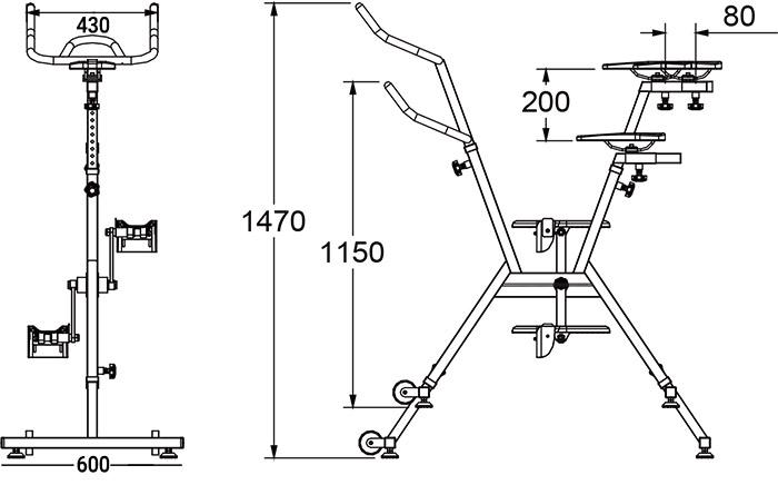 Dimensioni Cyclette acquatica AQUABIKE con telaio in acciaio AISI 316