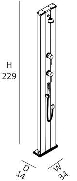 Doccia solare DADA S 40 litri con doccetta mobile