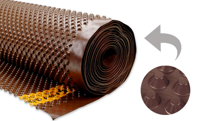 Membrana alveolare drenante HDPE 1,5 x 20 m per piscine in legno