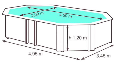 Dimensioni Piscina in legno EcoWood BWT TROPIC +510