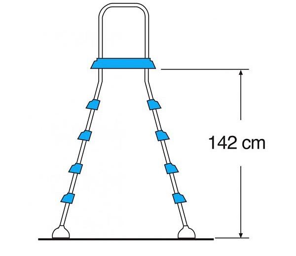 Scaletta a ponte inox gre 2x4 h142 con piattaforma for Piscina desmontable 2x4