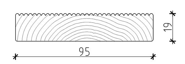 Dimensione listone di calpestio in legno di pino ECO 1,9 x 9,5 cm