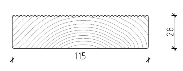 Dimensione listone di calpestio in legno di pino ECO 2,8 x 11,5 cm