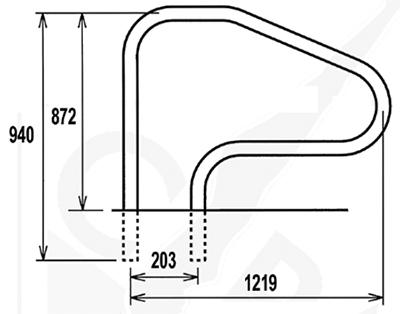 Mancorrente piscina Inox 316 - Ø 43 mm
