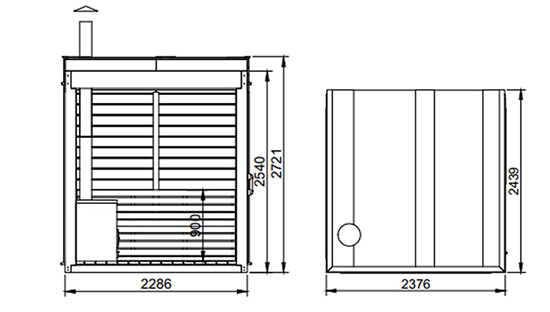 Dimensioni sauna ARES