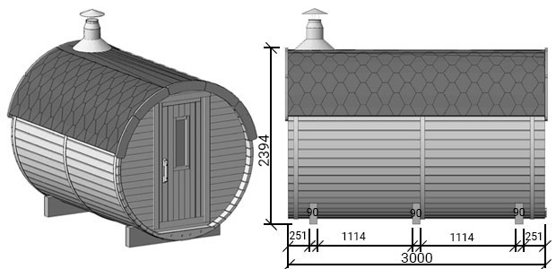 misure sauna plutone