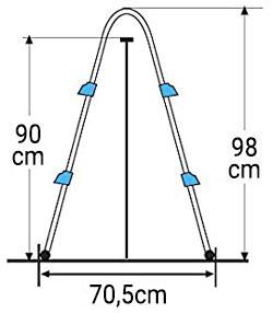 Dimensioni Scaletta a ponte GRE 2x2 gradini h98 cm per piscine fuori terra