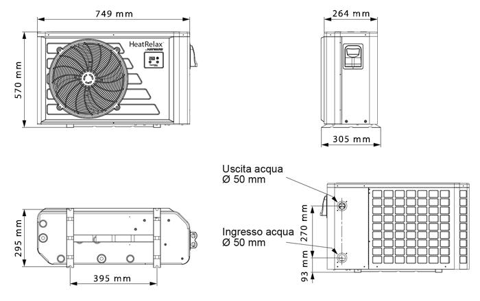 dimensioni pompa di calore heat relax hatward