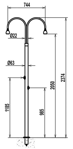 Doccia inox standard con 2 soffioni - Dimensioni doccia standard ...