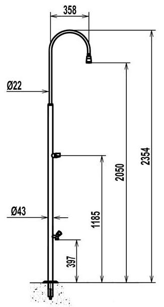 Doccia inox standard con lavapiedi - Misure standard doccia ...