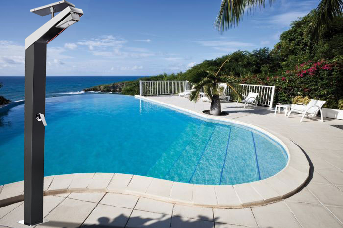 Doccia solare per piscina AMA NEW in acciaio inox, capacità 35 litri