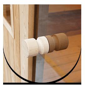 Manico in legno per vetrata affumicata sauna Barrel