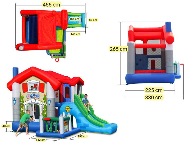 Dimensioni Gioco gonfiabile da esterno BIG HOUSE con vaschetta di palline