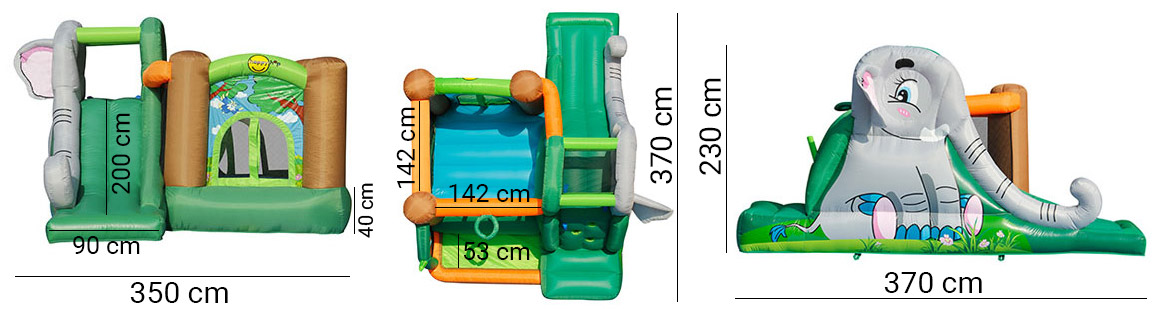 Dimensioni Gioco gonfiabile da esterno ELEFANTOPOLI con parete per l'arrampicata