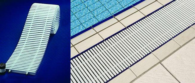 Griglia trasversale in polipropilene per piscina bordo a sfioro