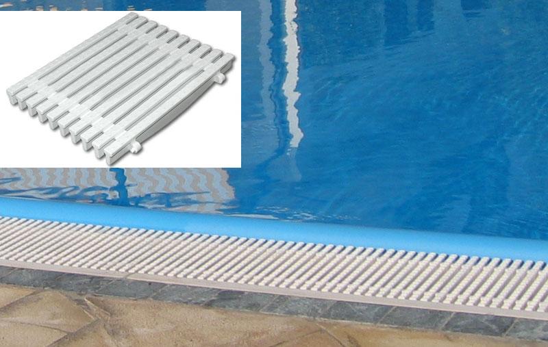 Griglia trasversale in polipropilene a clic  per piscina bordo a sfioro