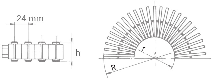 Griglia Trasversale per curve in polipropilene per piscina a sfioro