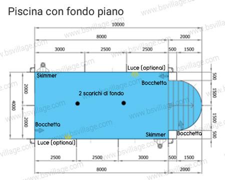 Piscina interrata ITALIKA Steel 10x4 con scala romana