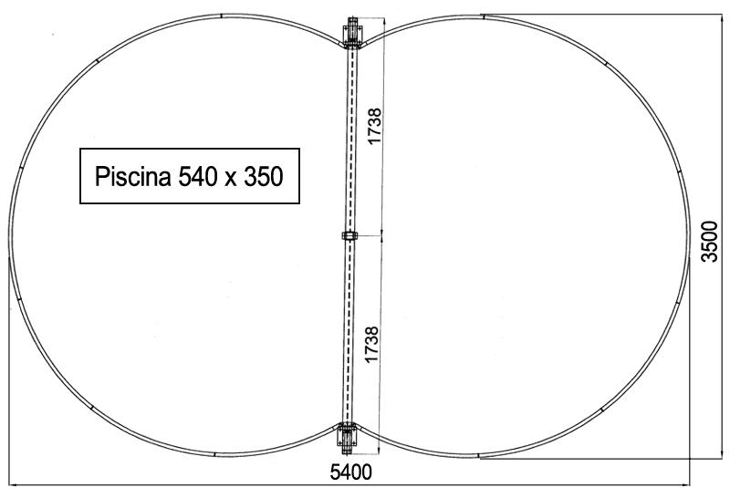 Dimensioni Piscina interrata ISABELLA 540 - 5,40 x 3,50 x h 1,50 m