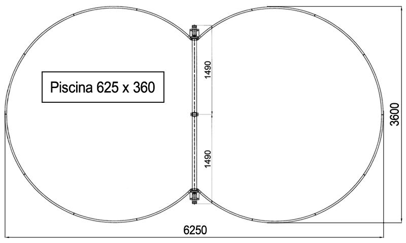 Dimensioni Piscina interrata ISABELLA 625 - 6,25 x 3,60 x h 1,50 m