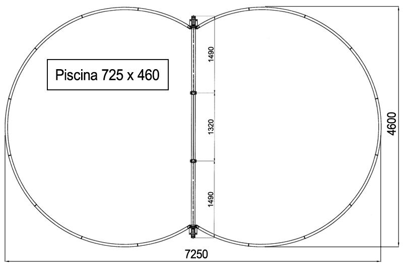 Dimensioni Piscina Fuori terra ISABELLA 725 - 7,25 x 4,60 h 1,20 m