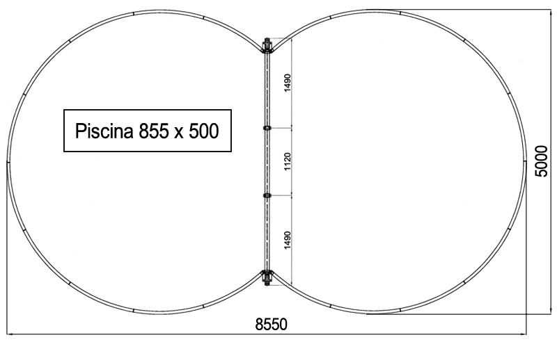 Dimensioni Piscina interrata ISABELLA 855 - 8,55 x 5,00 x h 1,20 m