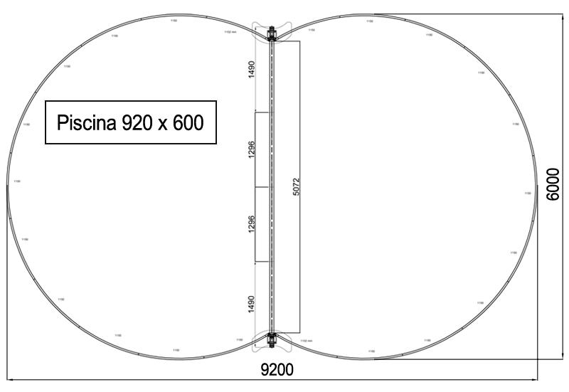 Dimensioni Piscina interrata ISABELLA 920 - 9,20 x 6,00 x h 1,50 m