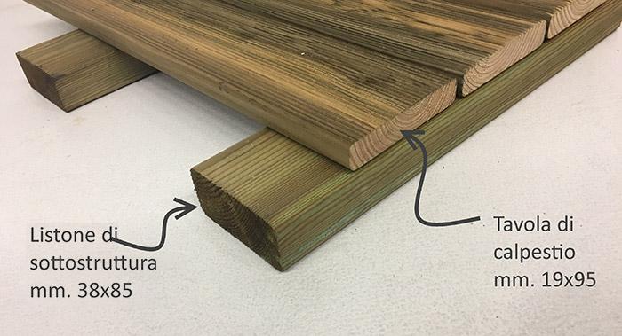 Esempio posa listone di sottostruttura e tavole di calpestio in legno di pino ECO