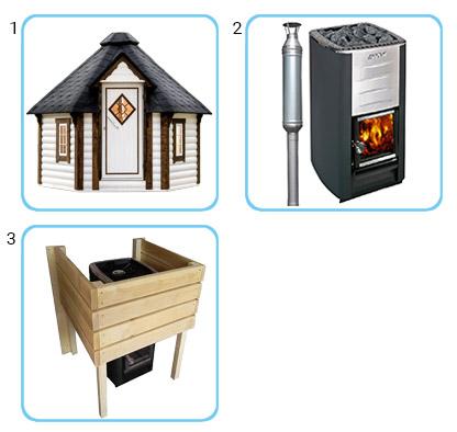 Sauna tradizionale da esterno LOKI KIT STANDARD CON STUFA A LEGNA