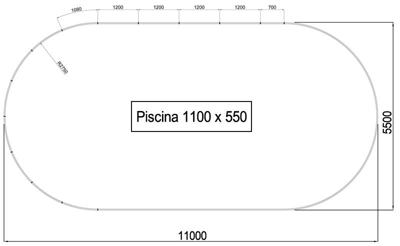 Dimensioni Piscina interrata OLIVIA 1100 - 11,00 x 5,50 x h 1,50 m