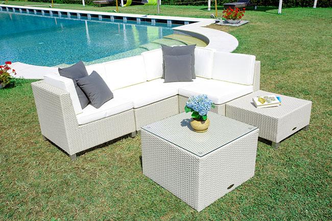 Salotto da giardino in wicker MODULO, 5 sedute e tavolino