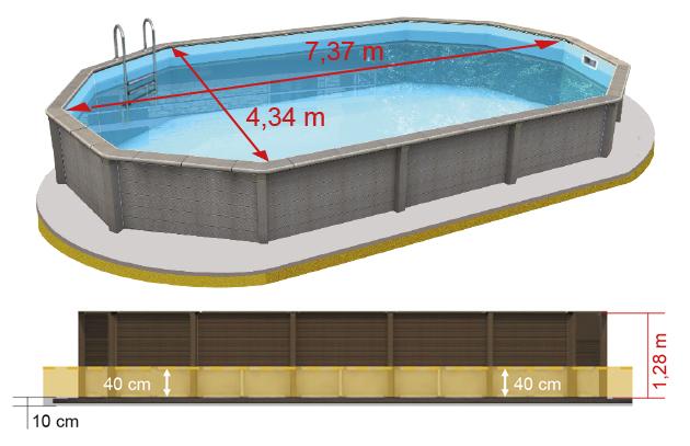 Piscina fuori terra decagonale Naturalis Ø 4,55 h 1,25 m