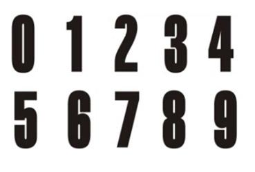 Numeri per blocchi di partenza da 0 a 9
