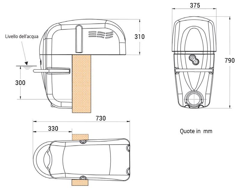 Dimensioni Nuoto Controcorrente JET LUXE Filtrinov