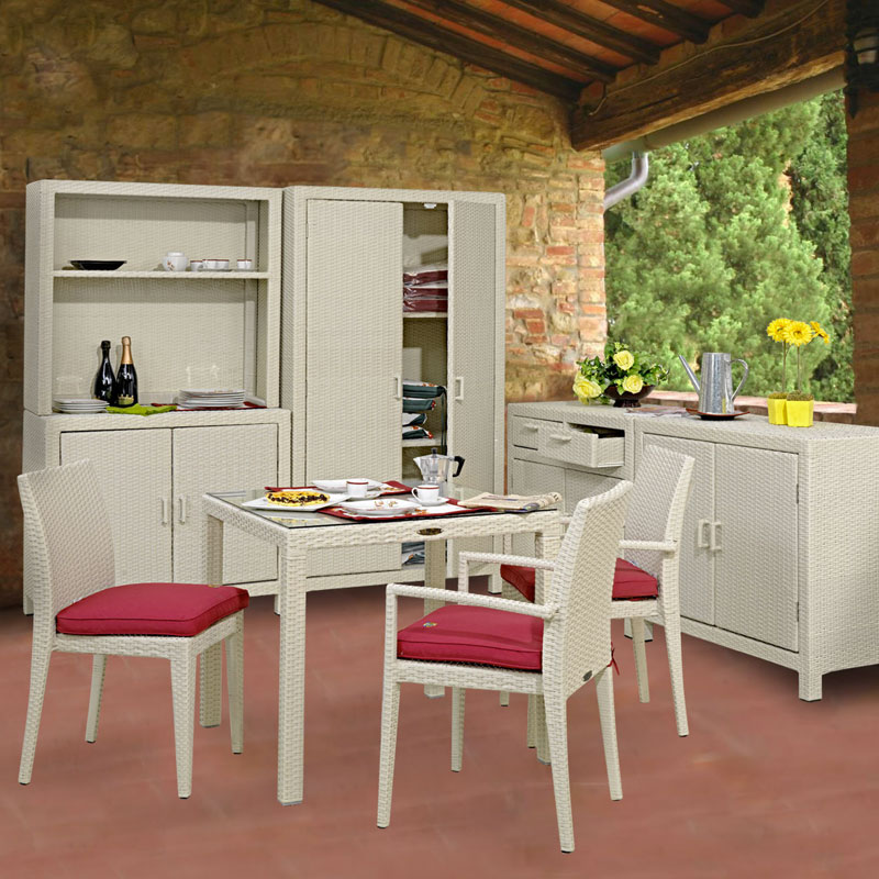 Armadio a 2 ante in wicker bianco
