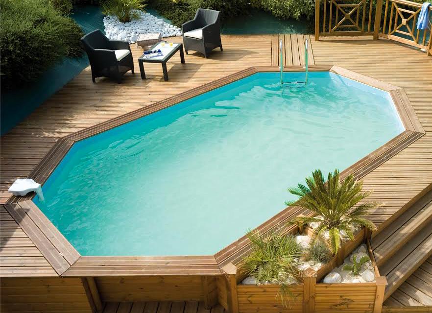 Piscina in legno odyssea 640 ottagonale 6 43 x 4 03 h 1 for Faretti per piscine fuori terra